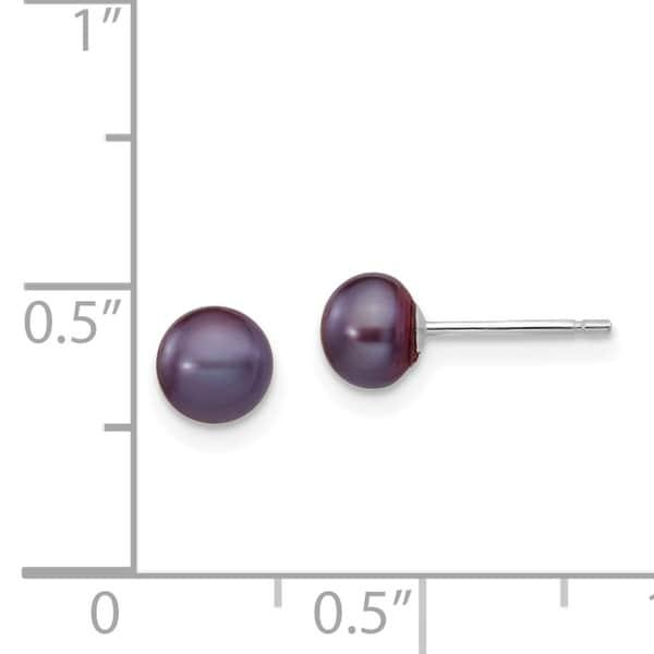 14k 5-6mm Black Round Freshwater Cultured Pearl Stud Post Earrings