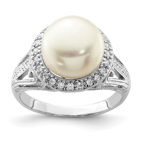 Versil Sterling Silver Rhodium-plated 10-11mm White Freshwater Cultured Pearl and CZ Ring