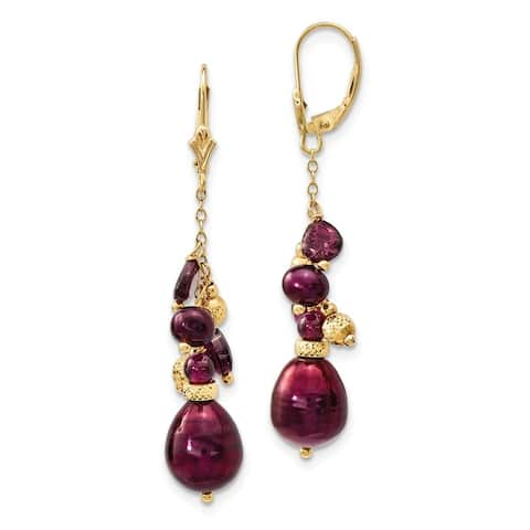 14 Karat Yellow Gold Garnet and 9-10mm Cranberry Freshwater Cultured Pearl Leverback Earrings by Versil