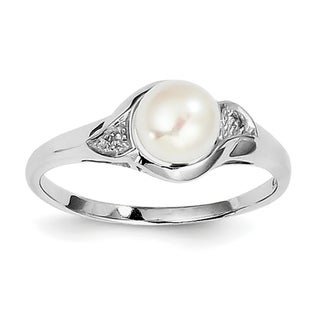 Sterling Silver Rhodium-plated Diamond and Freshwater Cultured Pearl Ring by Versil