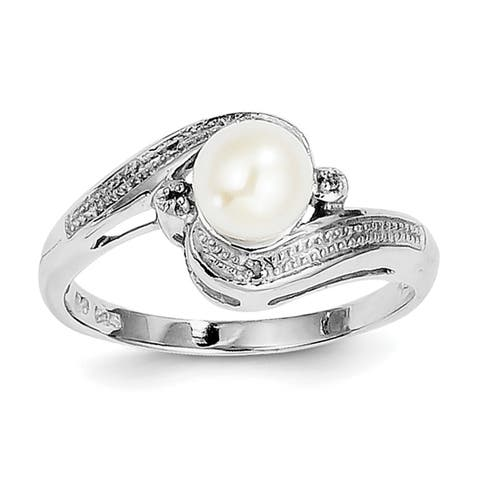 Versil Sterling Silver Rhodium-plated Diamond and Freshwater Cultured Pearl Ring