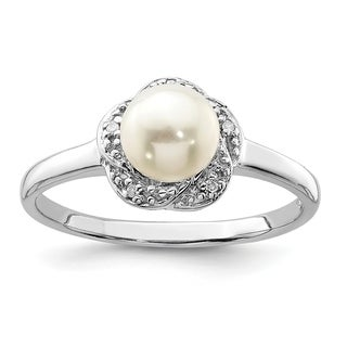 Versil Sterling Silver Rhodium Plated 6mm Freshwater Cultured Button Pearl And Diamond Ring