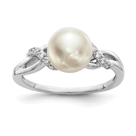 Versil Sterling Silver Rhodium-plated 8-9mm White Freshwater Cultured Pearl CZ Ring