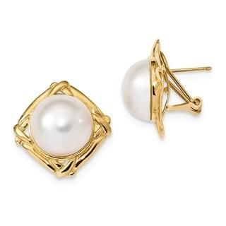 Versil 14 Karat Yellow Gold 13-14mm White Mabe Freshwater Cultured Pearl Omega Back Earrings