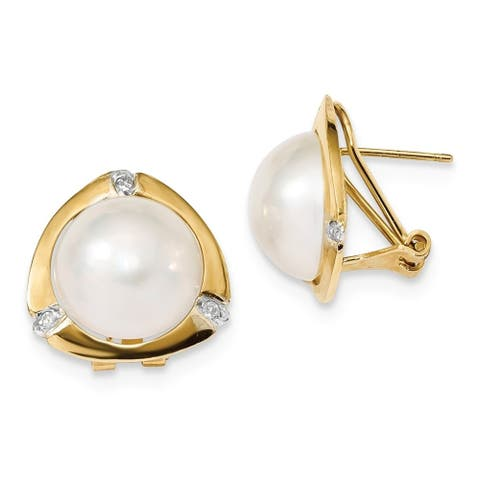 14K Yellow Gold 12-13mm White Mabe Freshwater Cultured Pearl .06 Ct Diamond Omega Back Earrings by Versil