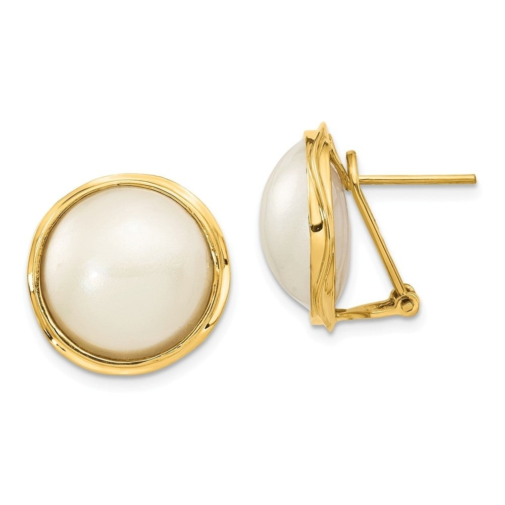 Versil 14 Karat Yellow Gold 15mm Cultured Mabe Pearl Earrings