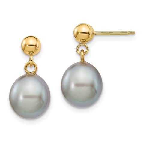 14K Yellow Gold 8-9mm Pink Freshwater Cultured Pearl Dangle Earrings by Versil