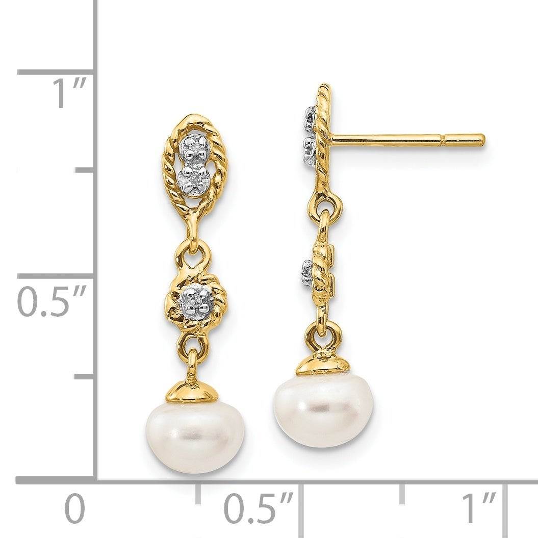 14k 6-7mm White Button Freshwater Cultured Pearl Stud Post Earrings in 14k Yellow Gold