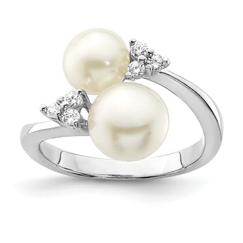 Versil Sterling Silver Rhodium-plated 8-9mm White 2 Freshwater Cultured Pearl and CZ Ring