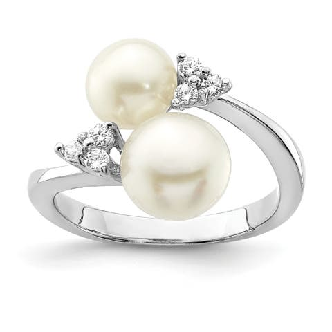Sterling Silver Rhodium-plated 8-9mm White 2 Freshwater Cultured Pearl and Cubic Zirconia Ring by Versil