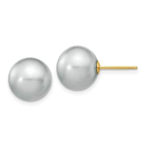 Versil 14 Karat Yellow Gold 10-11mm Grey Round Freshwater Cultured Pearl Stud Earrings
