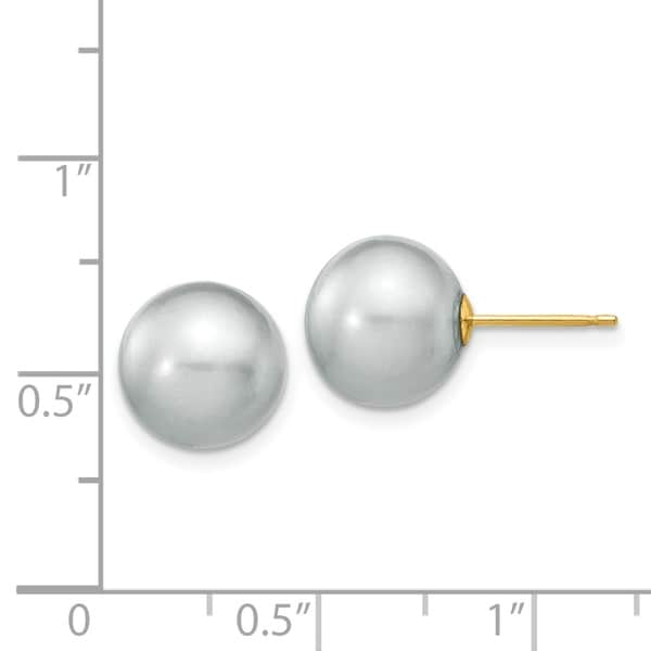 14K Yellow Gold 5-6mm Grey Round Freshwater Cultured Pearl Stud Post Earrings