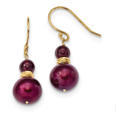 14 Karat Yellow Gold Garnet and 9-10mm Cranberry Freshwater Cultured Pearl French Wire Earrings by Versil