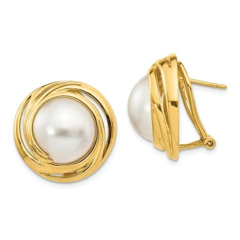Versil 14 Karat Yellow Gold Mabe Cultured Pearl Earrings