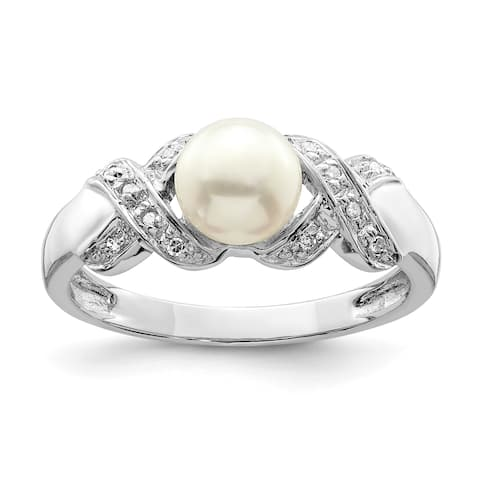 Versil Sterling Silver Rhodium-plated 6mm Freshwater Cultured Button Pearl Ring