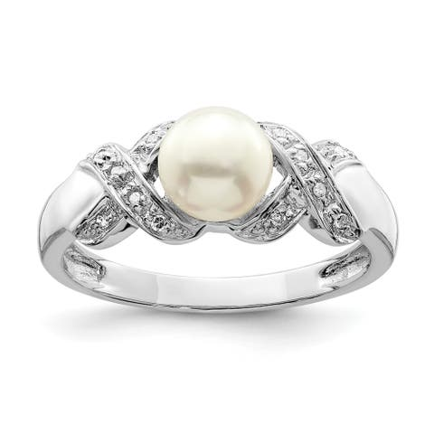 Sterling Silver Rhodium-plated 6mm Freshwater Cultured Button Pearl Ring by Versil