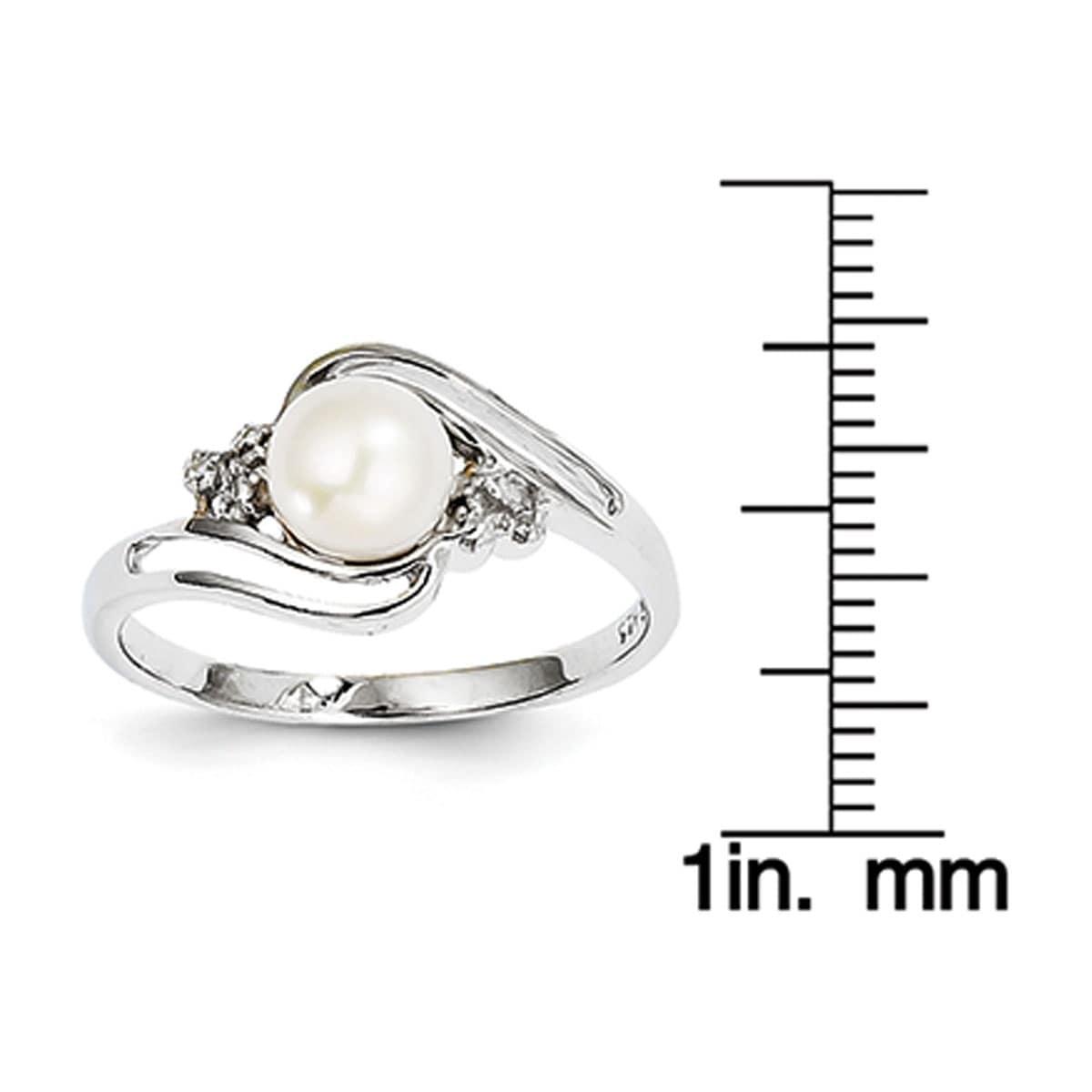 925 Silver Rhodium 6mm FW Cultured Button Pearl /& Diamond Ring QDX855 Size 6-8