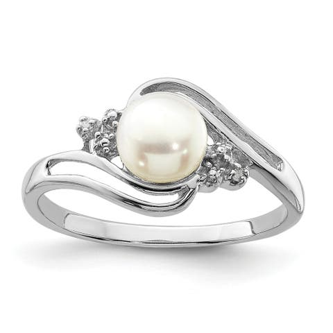 Sterling Silver Rhodium-plated 6mm Freshwater Cultured Button Pearl and Diamond Ring by Versil
