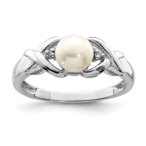 Versil Sterling Silver Rhodium-plated Freshwater Cultured Button Pearl and Diamond Ring