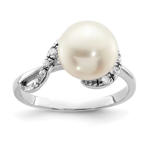 Versil Sterling Silver Rhodium-plated 9-10mm White Freshwater Cultured Pearl and CZ Ring