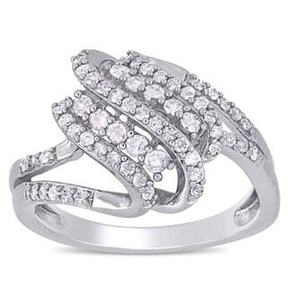 Miadora Sterling Silver 1/2ct TDW Diamond Crossover Split Shank Ring