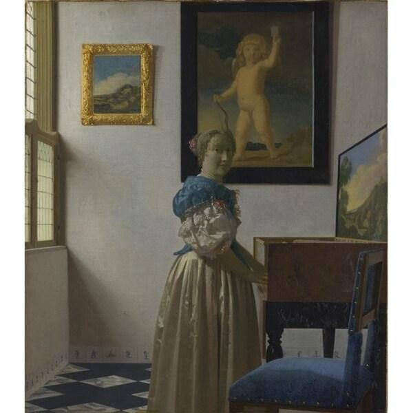Easy Art Prints Johannes Vermeer's 'A Young Woman standing at a Virginal' Premium Canvas Art