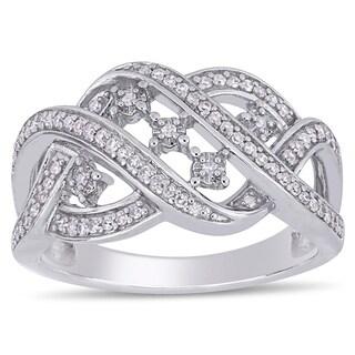 Miadora Sterling Silver 1/4ct TDW Diamond Interlaced Crossover Ring