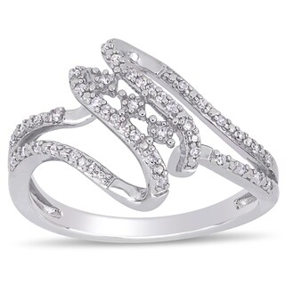 Miadora Sterling Silver 1/8ct TDW Diamond Bypass Split Shank Ring