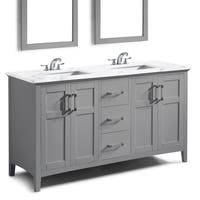 WYNDENHALL Salem 60 inch Contemporary Bath Vanity in Warm Grey with Bombay White Engineered Marble Extra Thick Top
