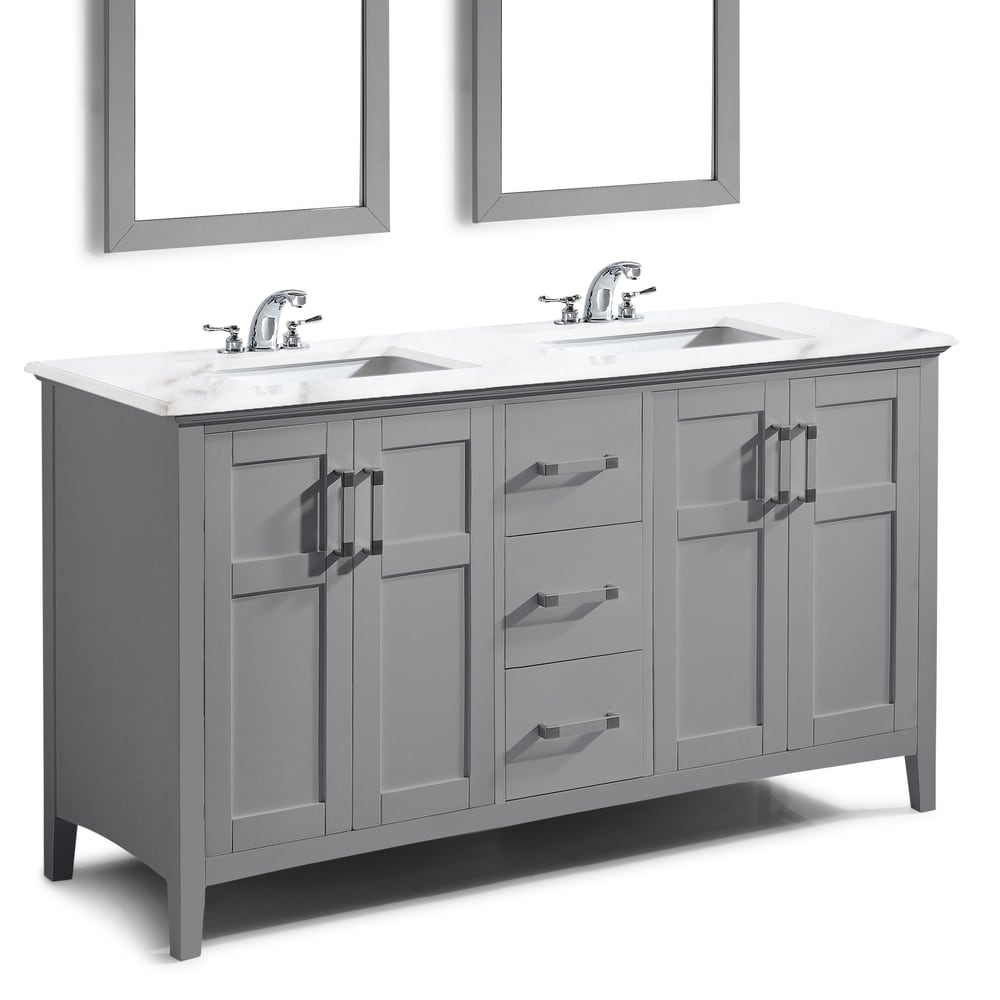 WYNDENHALL Salem Contemporary Bath Vanity in Warm Grey with Bombay White Engineered Marble Extra Thick Top