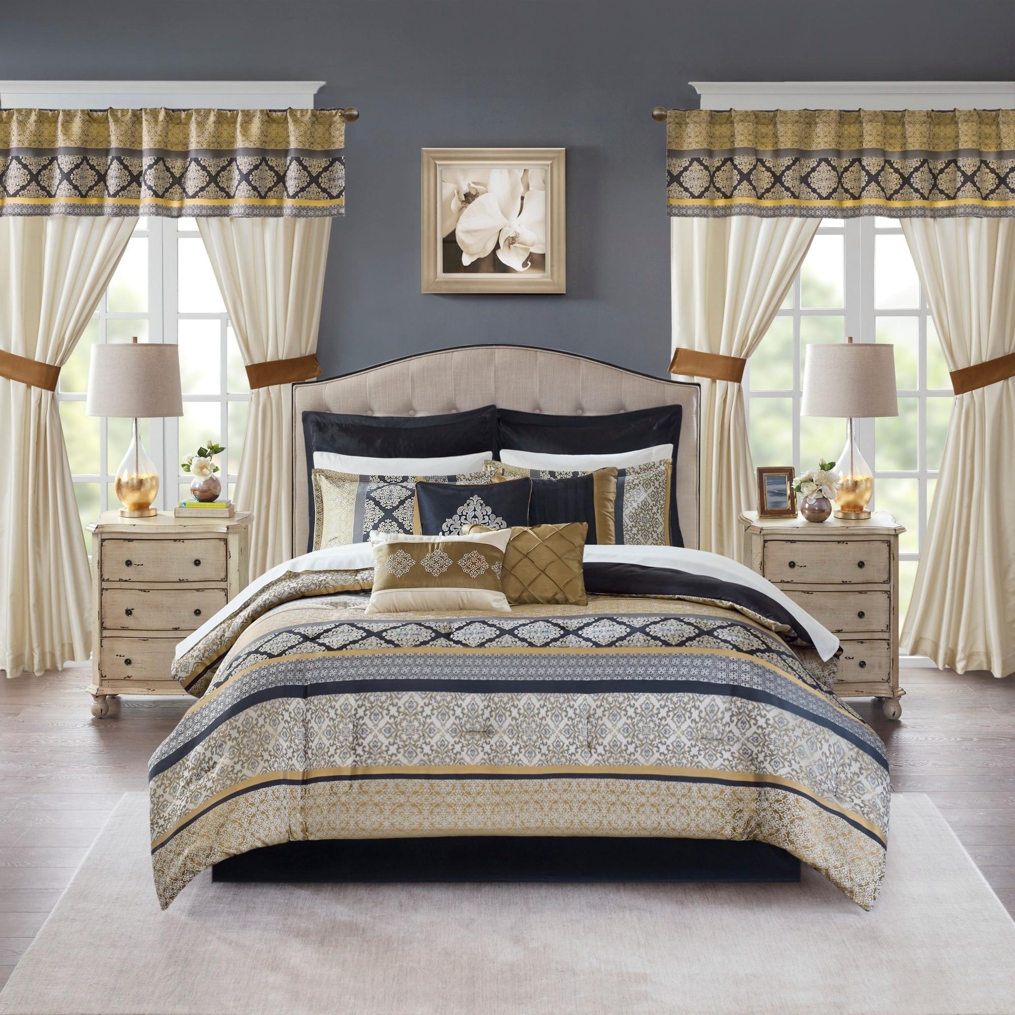 Shop Madison Park Essentials Harriet Black Gold 24 Piece Room In A Bag On Sale Overstock 24238392