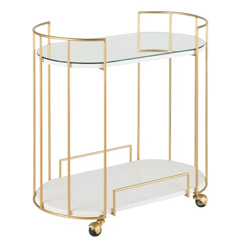 Silver Orchid Abbot Glam Bar Cart with wheels