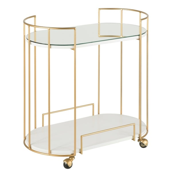 Silver Orchid Pugo Glam Bar Cart with wheels. Opens flyout.