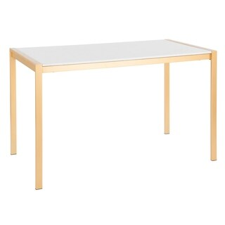 LumiSource Fuji Gold Dining Table - gold/white marble