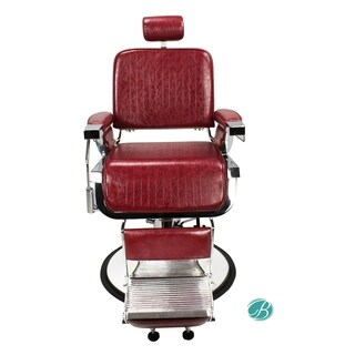 LINCOLN Barber Chair CRIMSON Heavy Duty, Sturdy, Reclining Barber Chair