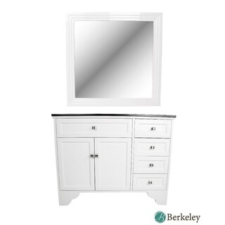 BERKELEY MAYBELLE Traditional Vanity Salon Styling Station WHITE w/ Mirror