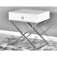 Best Master Furniture White Lacquer Cross Leg End Table