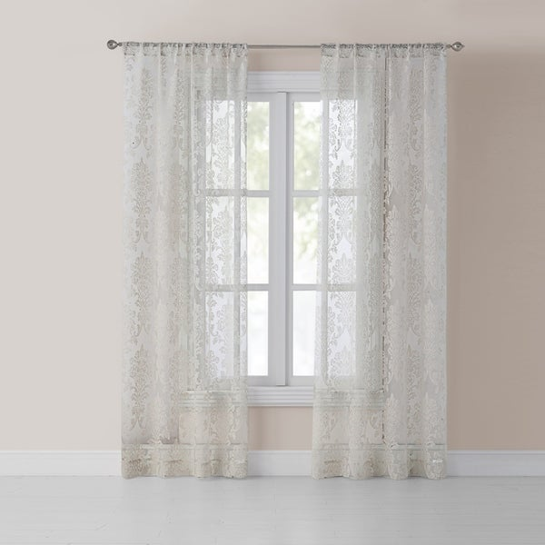Olivia White Cotton-blend Burnout Curtain
