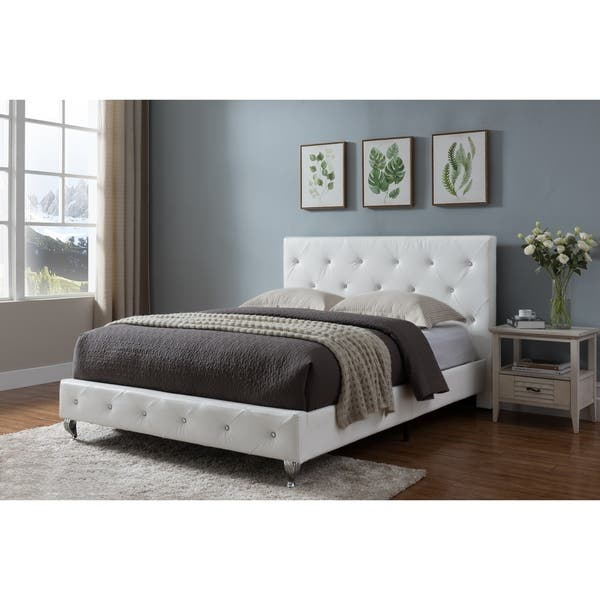 Shop Full Size Upholstered Beds White Faux Leather On Sale