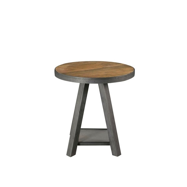 Riverside Furniture Bonnie Brown Grey Reclaimed Wood Metal Round End Table