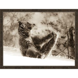 Yoga Bear Framed Canvas Wall Art
