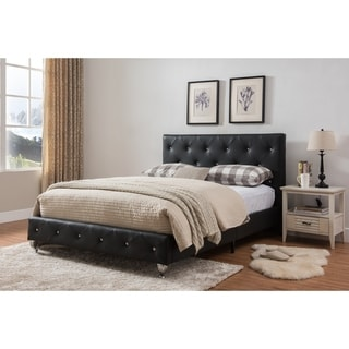 King size upholstered beds-Black & Faux Leather