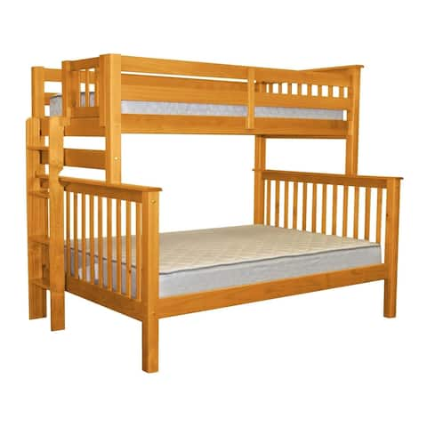 Bedz King Honey Brazilian Pine Wood Twin Over Full Mission Style Bunk Beds with End Ladder