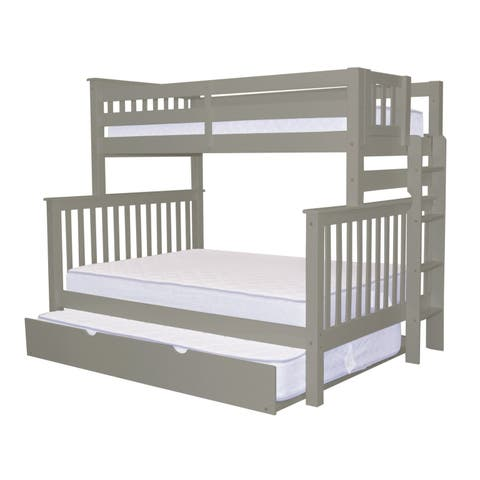 Bedz King Grey Pine Twin-over-full Mission-style Bunk Bed with End Ladder and a Full Trundle