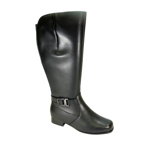 PEERAGE Gillian Women Extra Wide Width Wide Calf Leather KneeHigh Boot