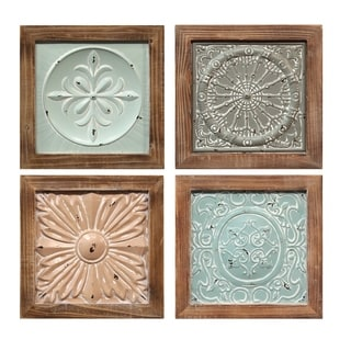 Stratton Home Decor Set of 4 Boho Tiles Wall Decor - N/A