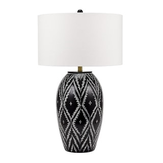 """Catalina Lighting Paley 32""""  Eclectic Tribal Ikat Patterned Gourd-Shaped Table Lamp w/ Shade & 3-way Switch, 20884-000"""