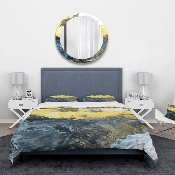 Shop Designart Grey Yellow And White Marble Composition
