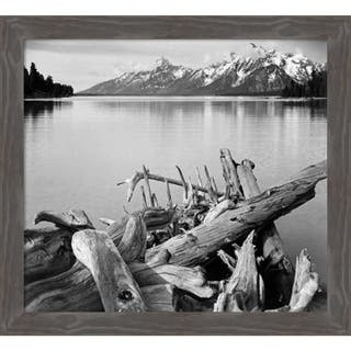 Canvas Art Framed 'Driftwood on shore of Jackson Lake, Grand Teton National Park, Wyomi' by Ansel Adams: Outer Size 25 x 22-inch