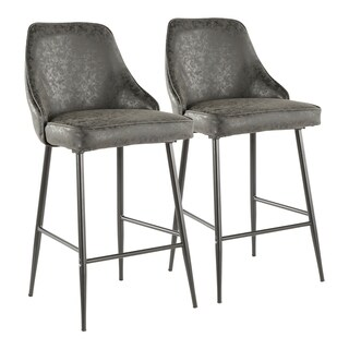 LumiSource Marcel Contemporary Black Counter Stool (Set of 2)